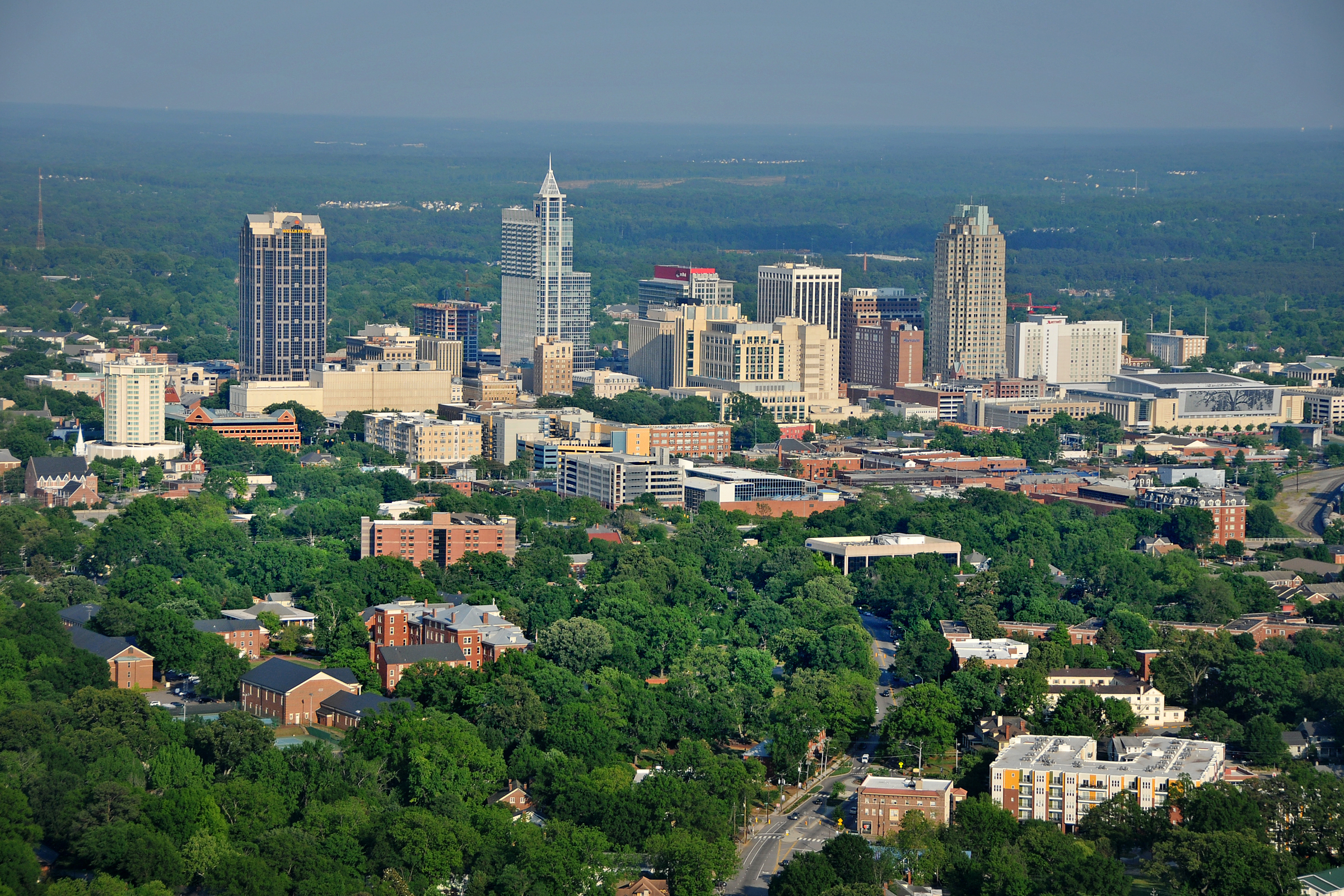 Aerial view of downtown Raleigh, as seen from the northwest, looking southeast.
