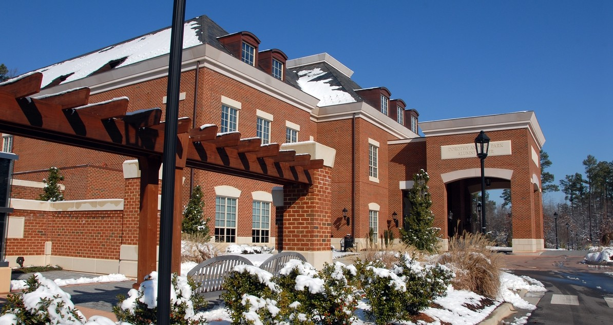 Park Alumni Center on a snowy day. PHOTO BY ROGER WINSTEAD